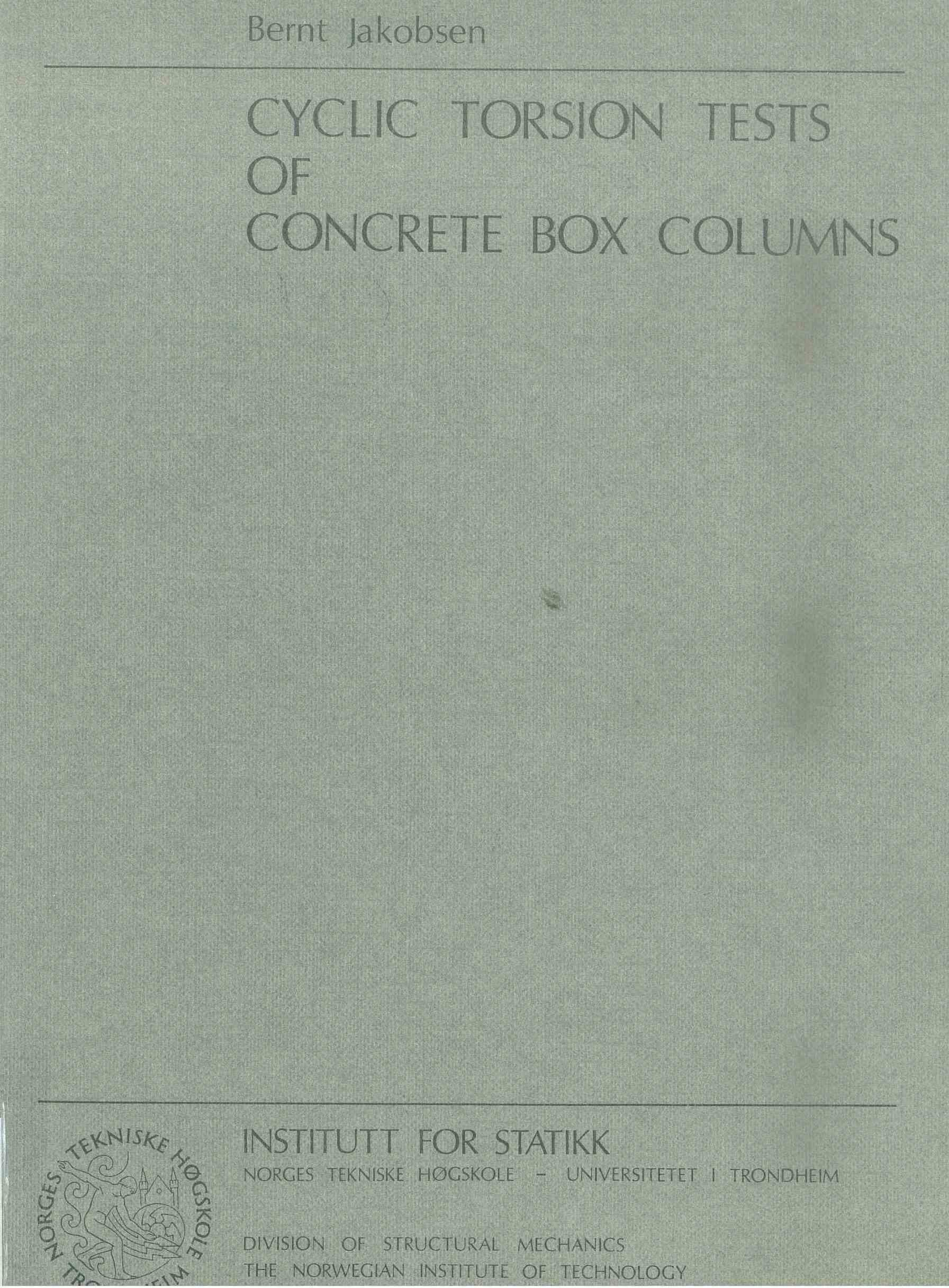 Cyclic Torsion Tests of Concrete Box Columns