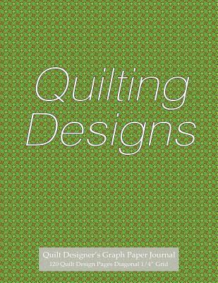 """Quilt Designer's Graph Paper Journal 120 Quilt Design Pages 1/4"""" Diagonal Grid"""