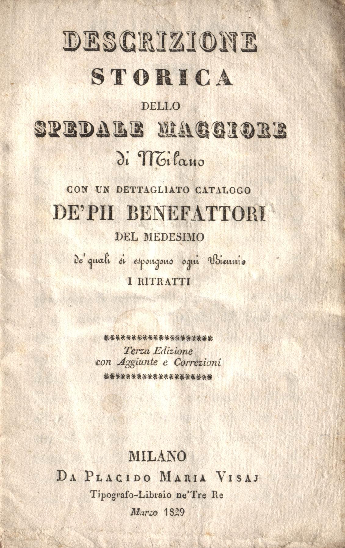 Descrizione storica dello spedale maggiore di Milano