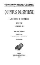 La suite d'Homère: Livres v-ix