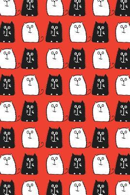 Journal Notebook For Cat Lovers Black and White Cats in a Row 3