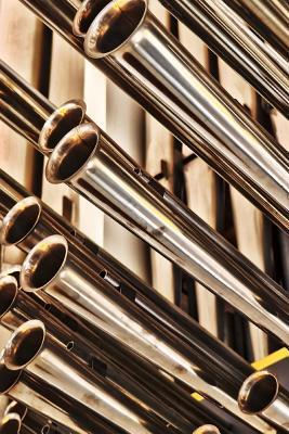 Shiny Brass Pipes of a Church Organ Journal
