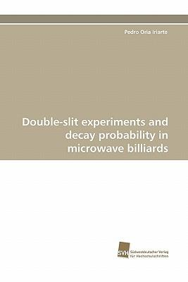 Double-slit experiments and decay probability in microwave billiards