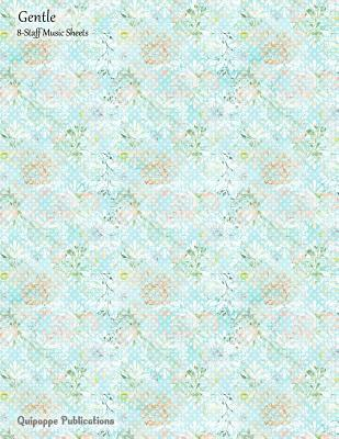 Gentle 8-staff Music Sheets - Peonies Pattern on Blue