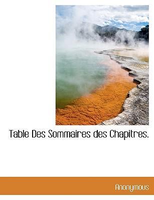 Table Des Sommaires Des Chapitres