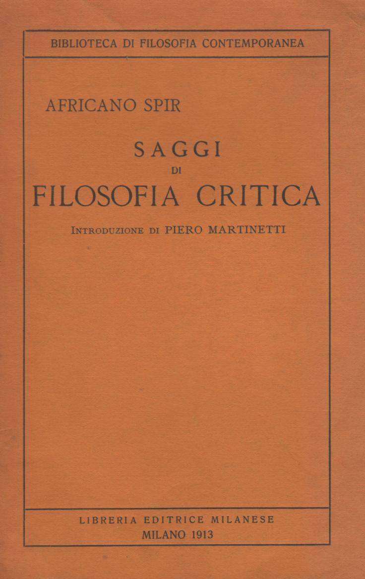 Saggi di filosofia critica