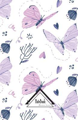Pretty White Purple Butterfly Water Color Journal