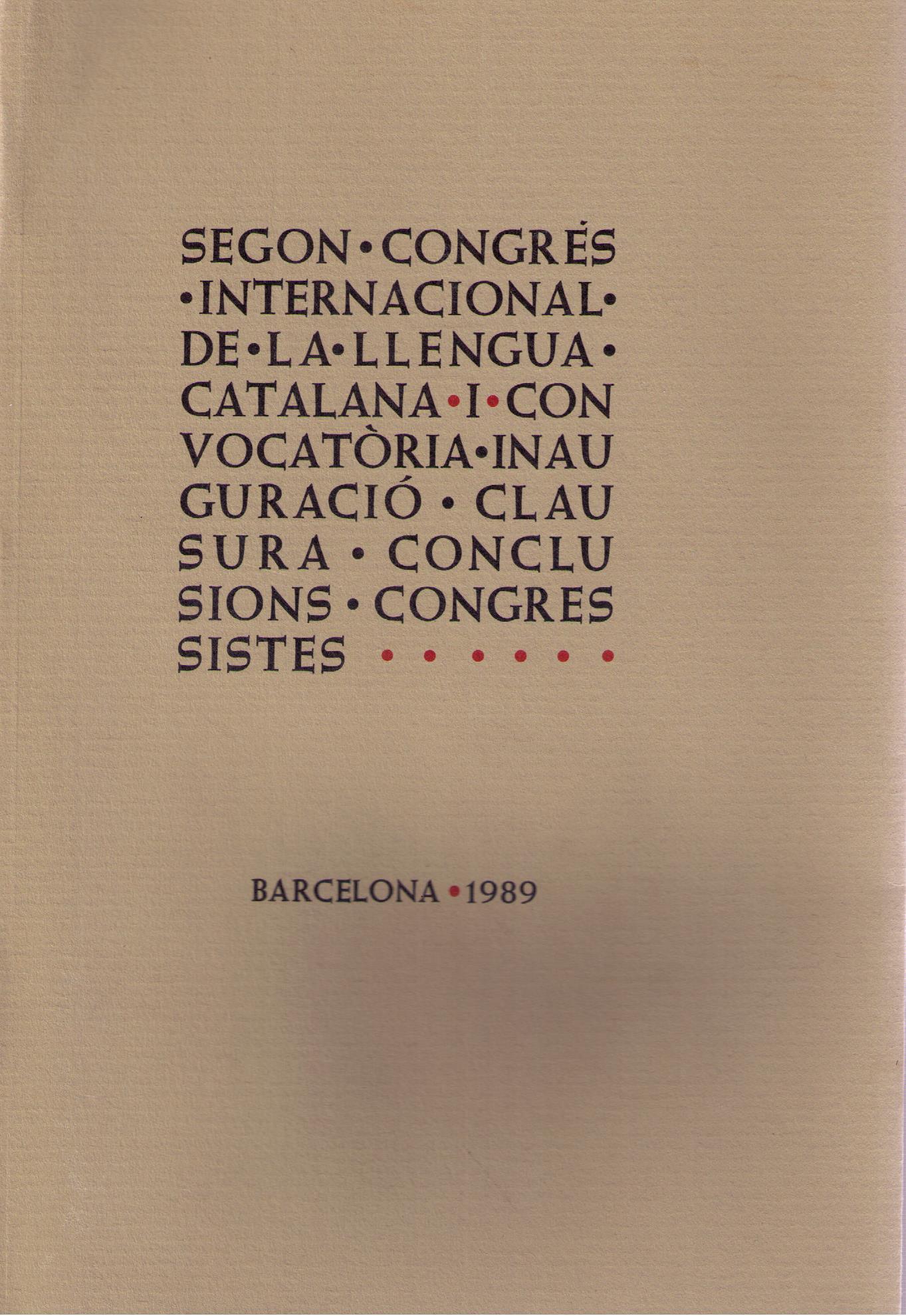 II Congrés Internacional de la Llengua Catalana