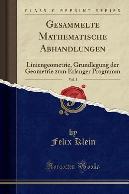 Gesammelte Mathematische Abhandlungen, Vol. 1