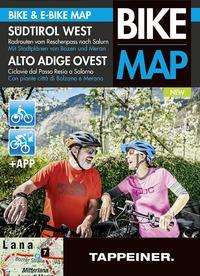 Alto Adige Ovest. Ciclovie dal Passo Resia a Salorno. Con piante città di Bolzano e Merano. Bike & e-bike map. Con app