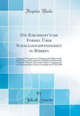 Die Kirchhoff'sche Formel Über Schallgeschwindigkeit in Röhren