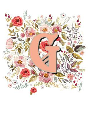 G Monogram Letter Floral Wreath Notebook