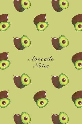 Avocado Notes Unruled Notebook Watercolor Texture Design Tropical Organic Fruit Pattern Cover