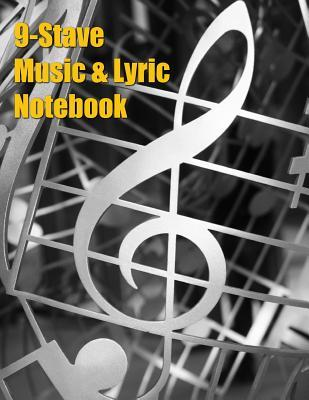 9-Stave Music & Lyric Notebook - Silver Treble Clef