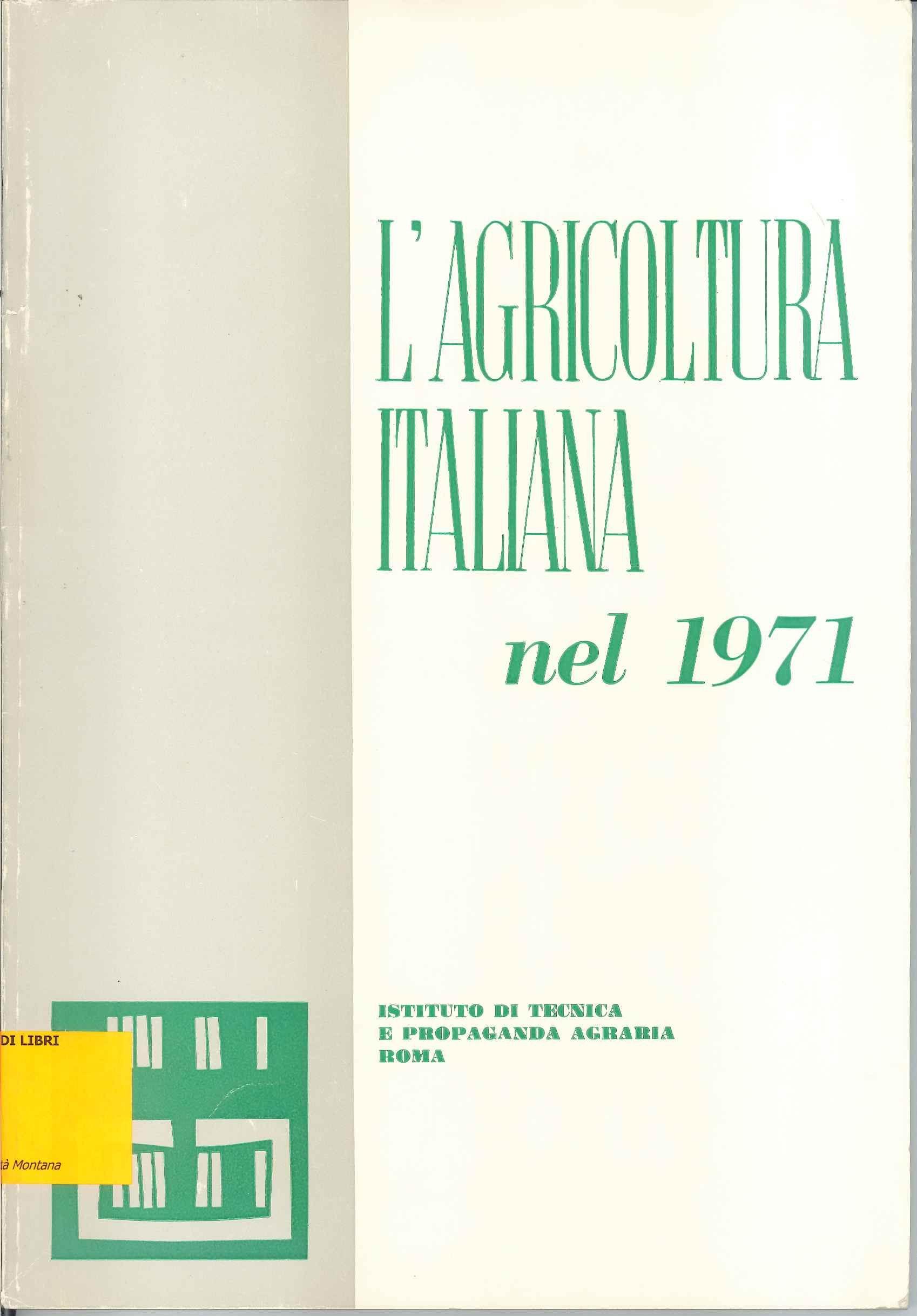 L'agricoltura italiana nel 1971