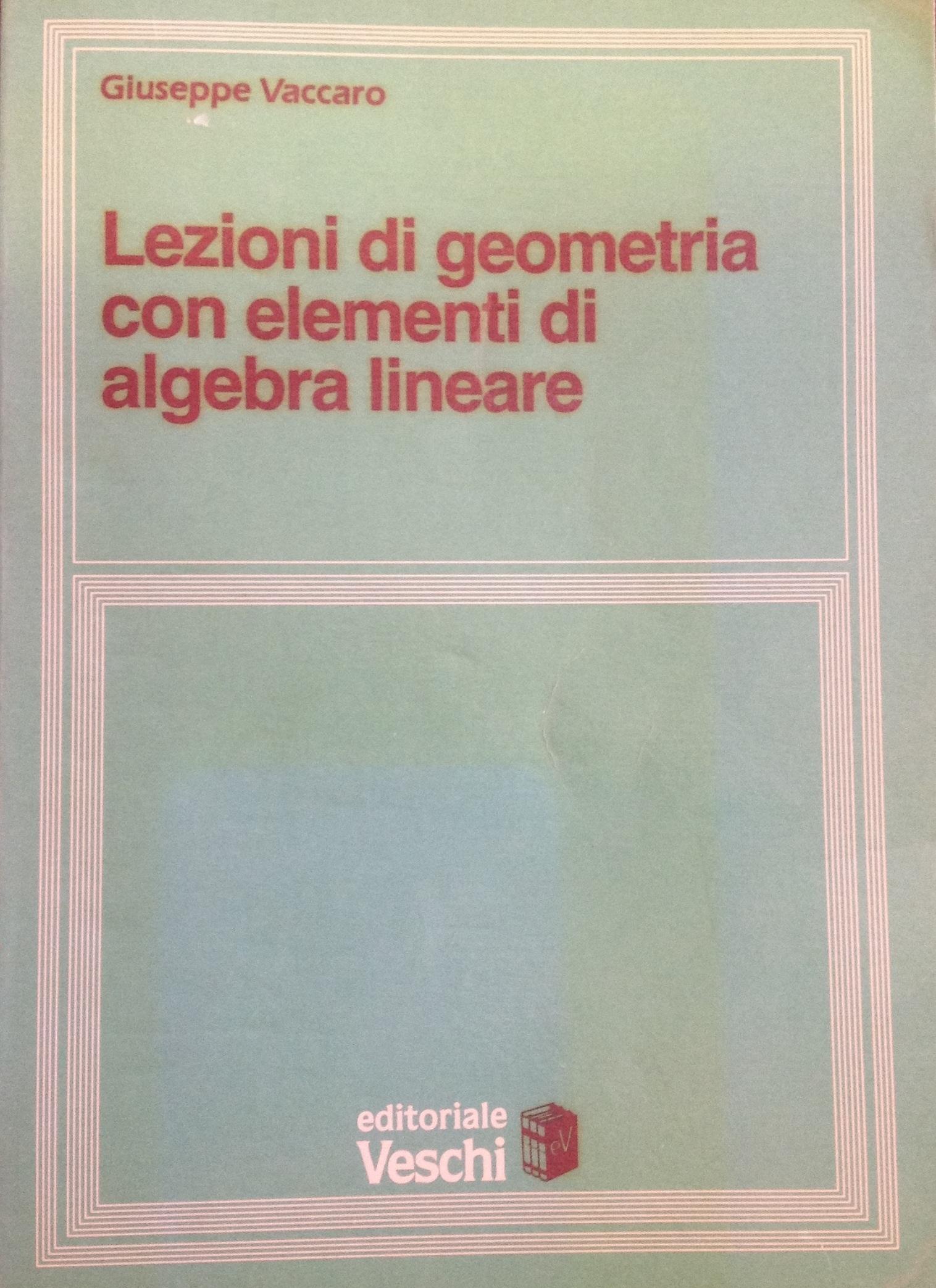 Lezioni di geometria. Elementi di algebra lineare
