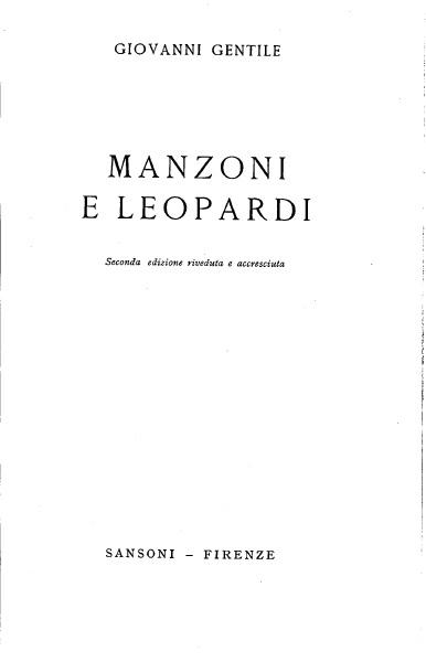 Manzoni e Leopardi