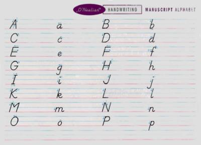 D'Nealian Handwriting Manuscript Re-Write Cards