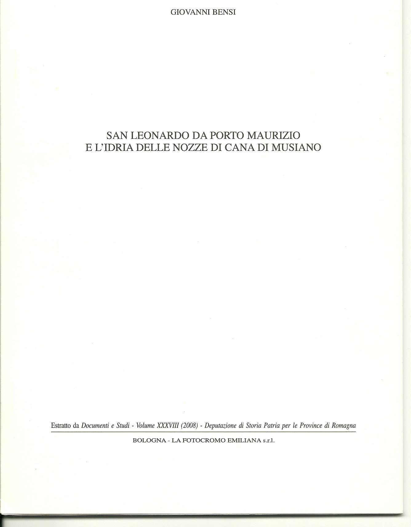 San Leonardo da Porto Maurizio e l'idria delle nozze di Cana di Musiano