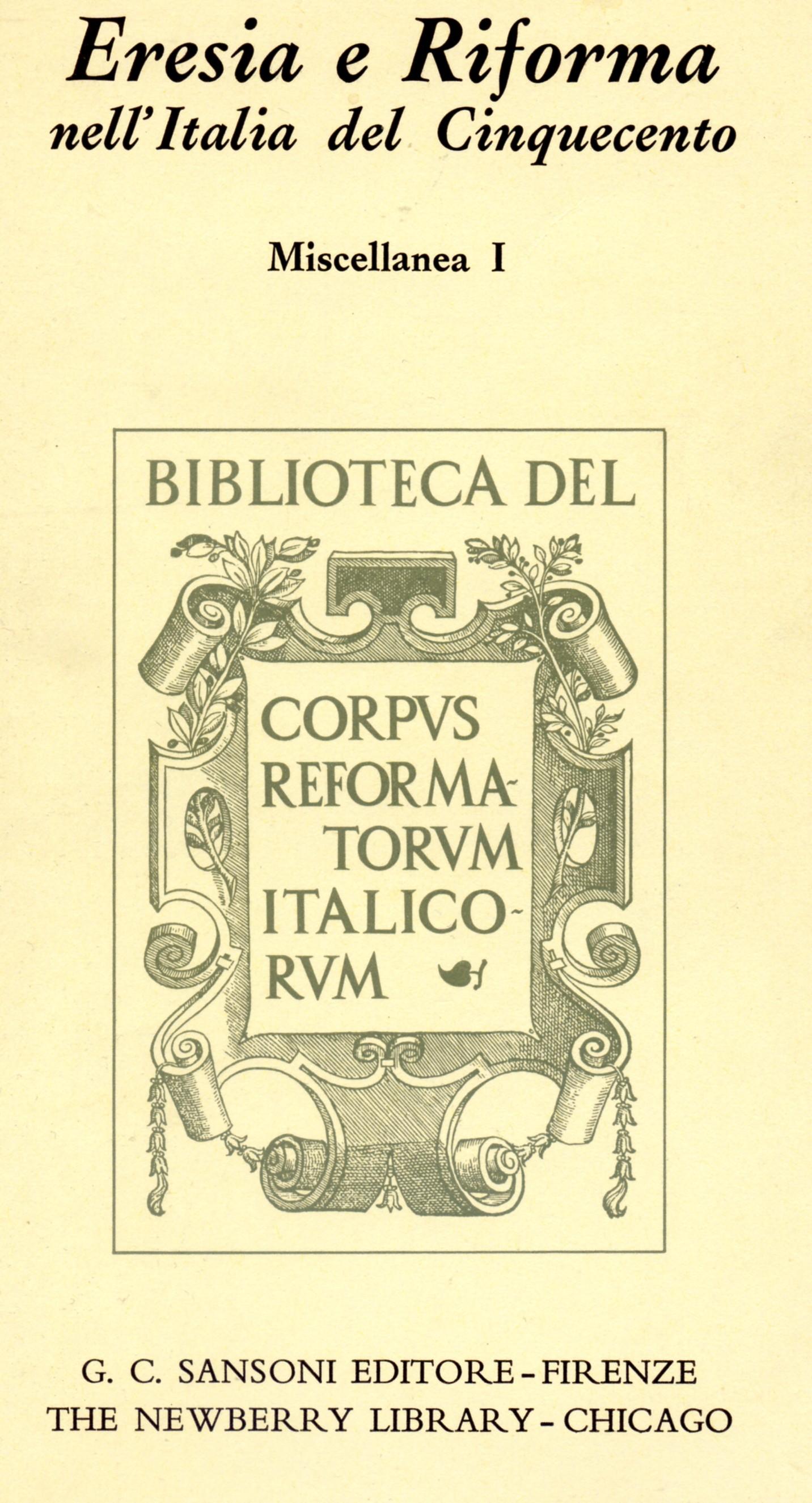 Eresia e riforma nell'Italia del Cinquecento