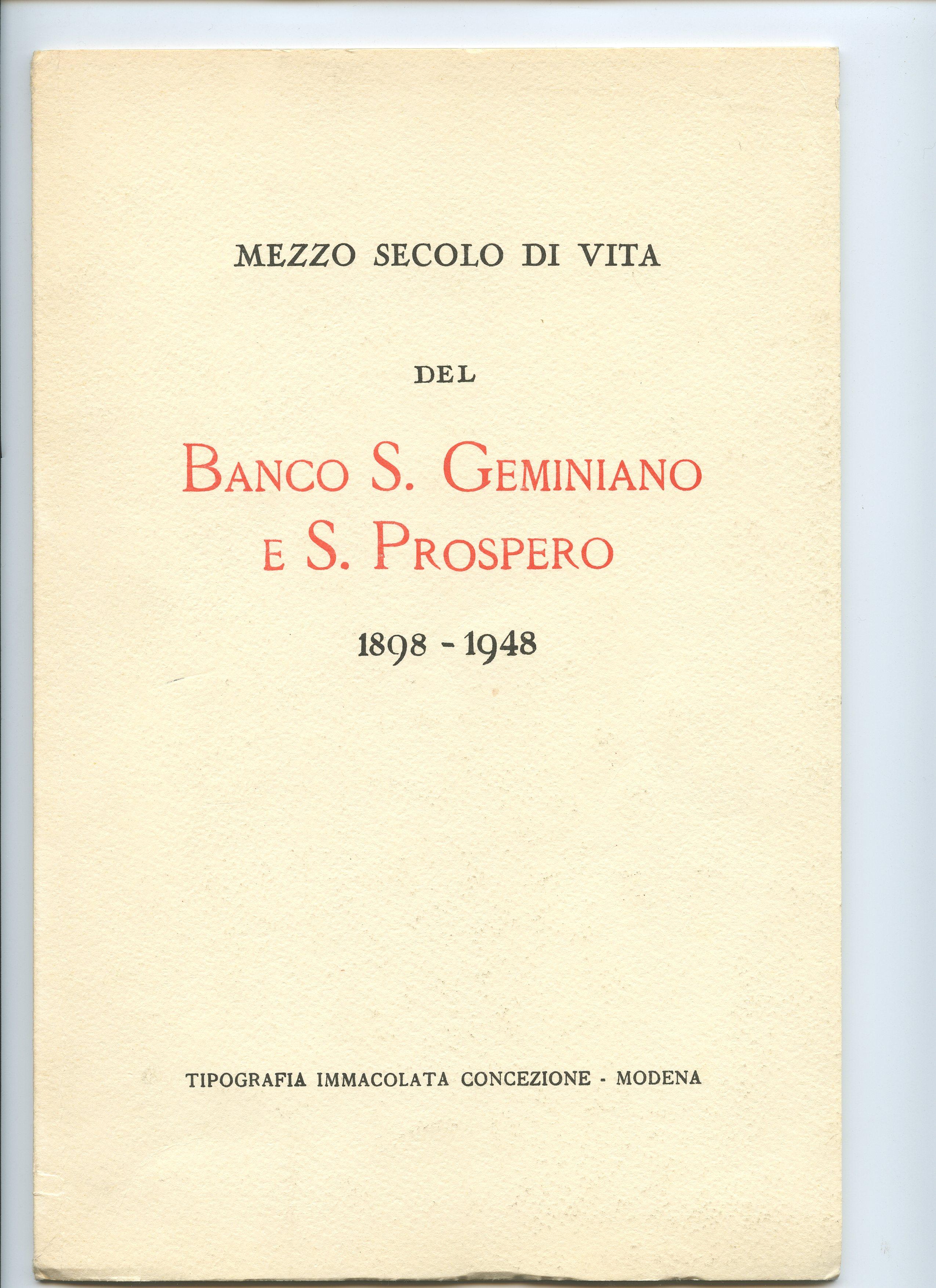 Mezzo secolo di vita del Banco S.Geminiano e S.Prospero
