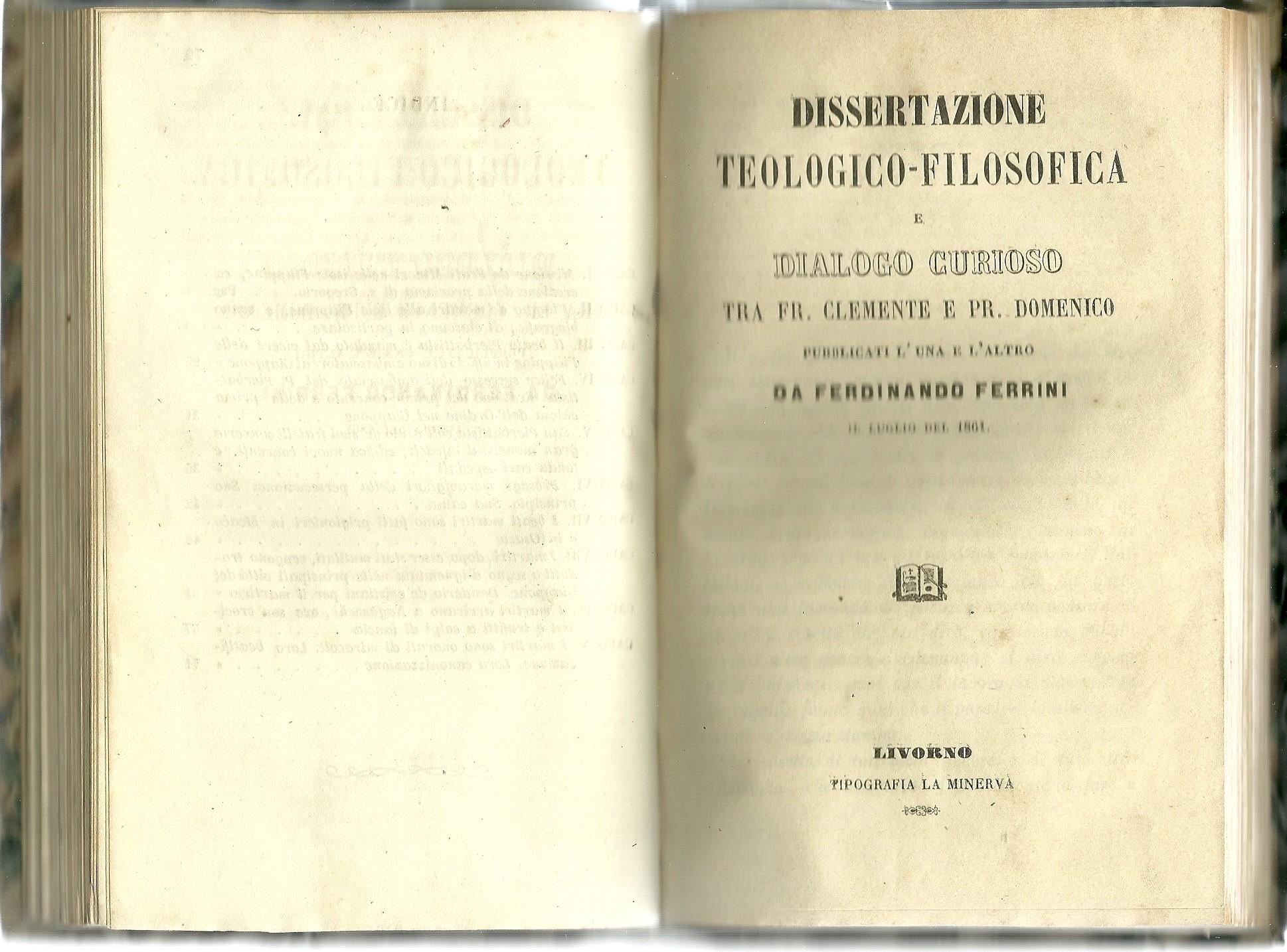 Dissertazione teologico-filosofica e dialogo curioso tra Fr. Clemente e Pr. Domenico