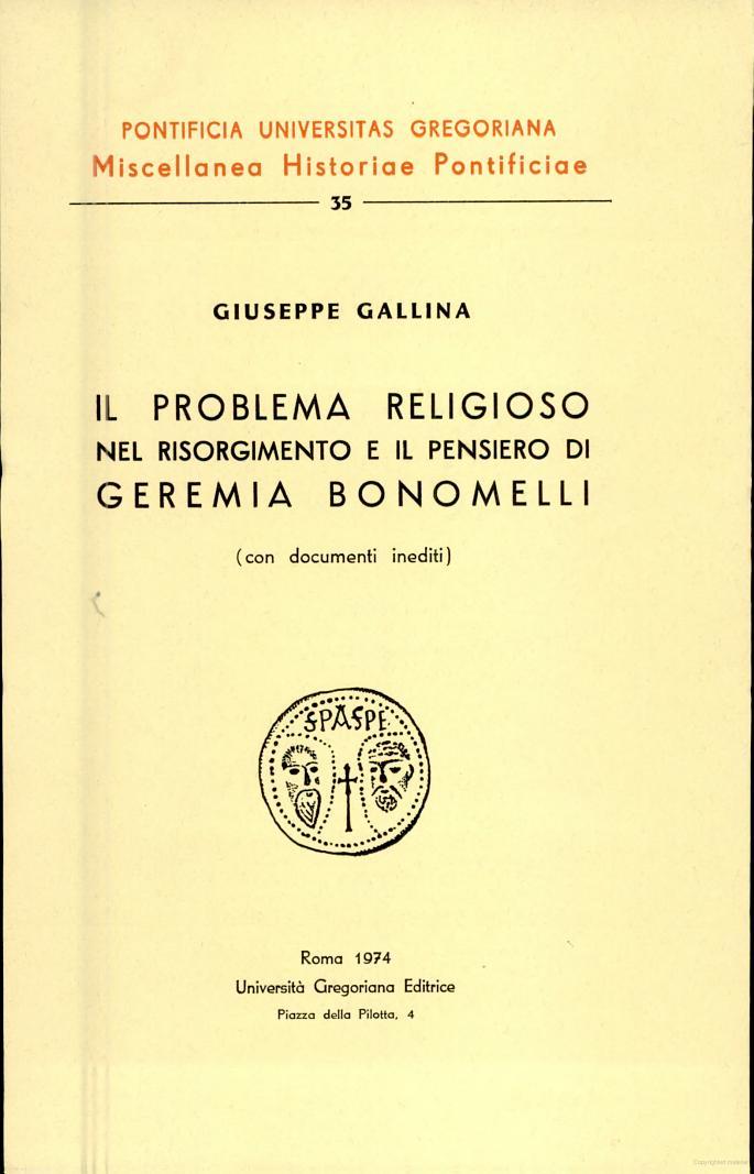 Il problema religioso nel Risorgimento e il pensiero di Geremia Bonomelli