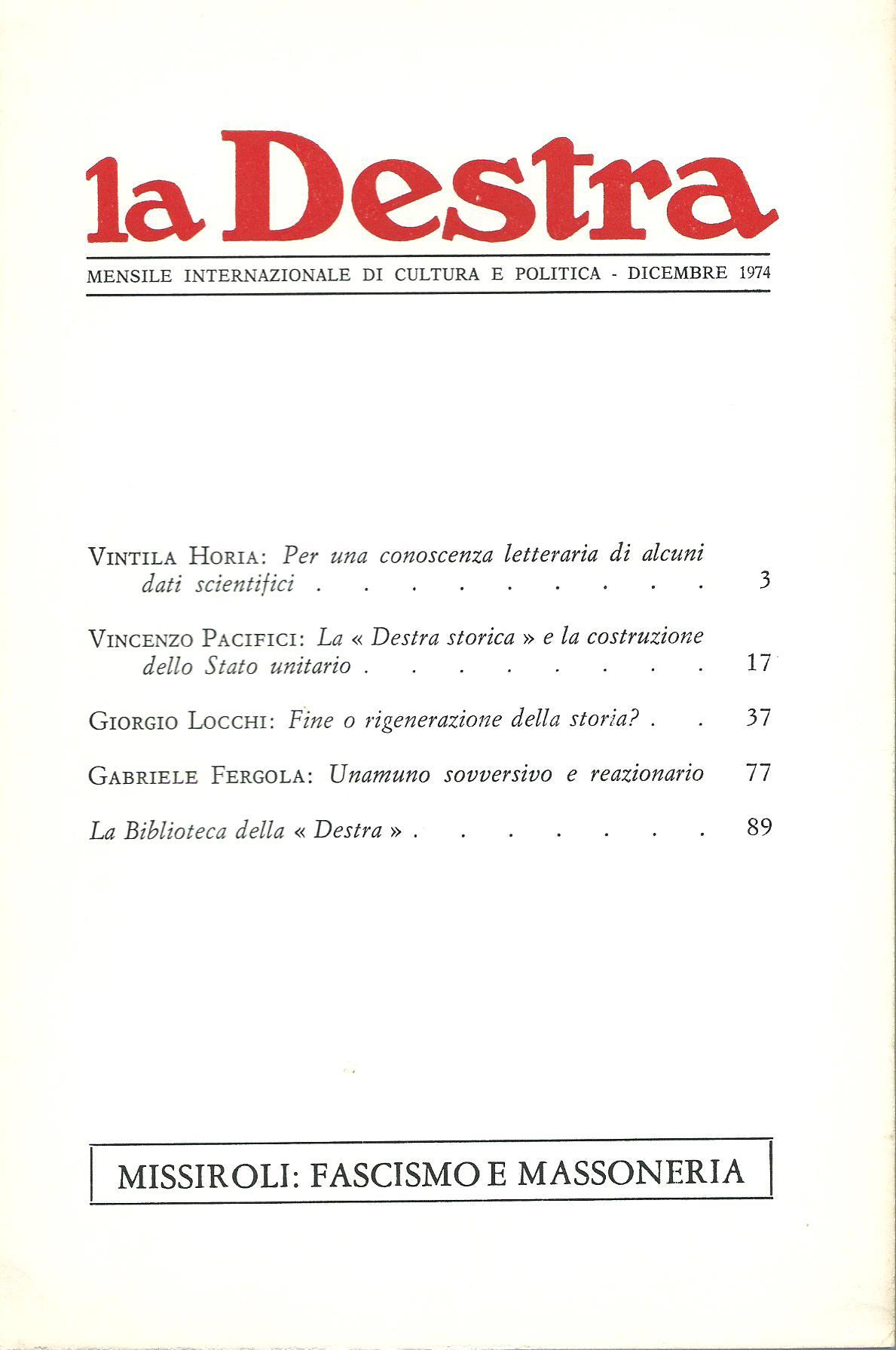 La Destra - Anno IV n. 12