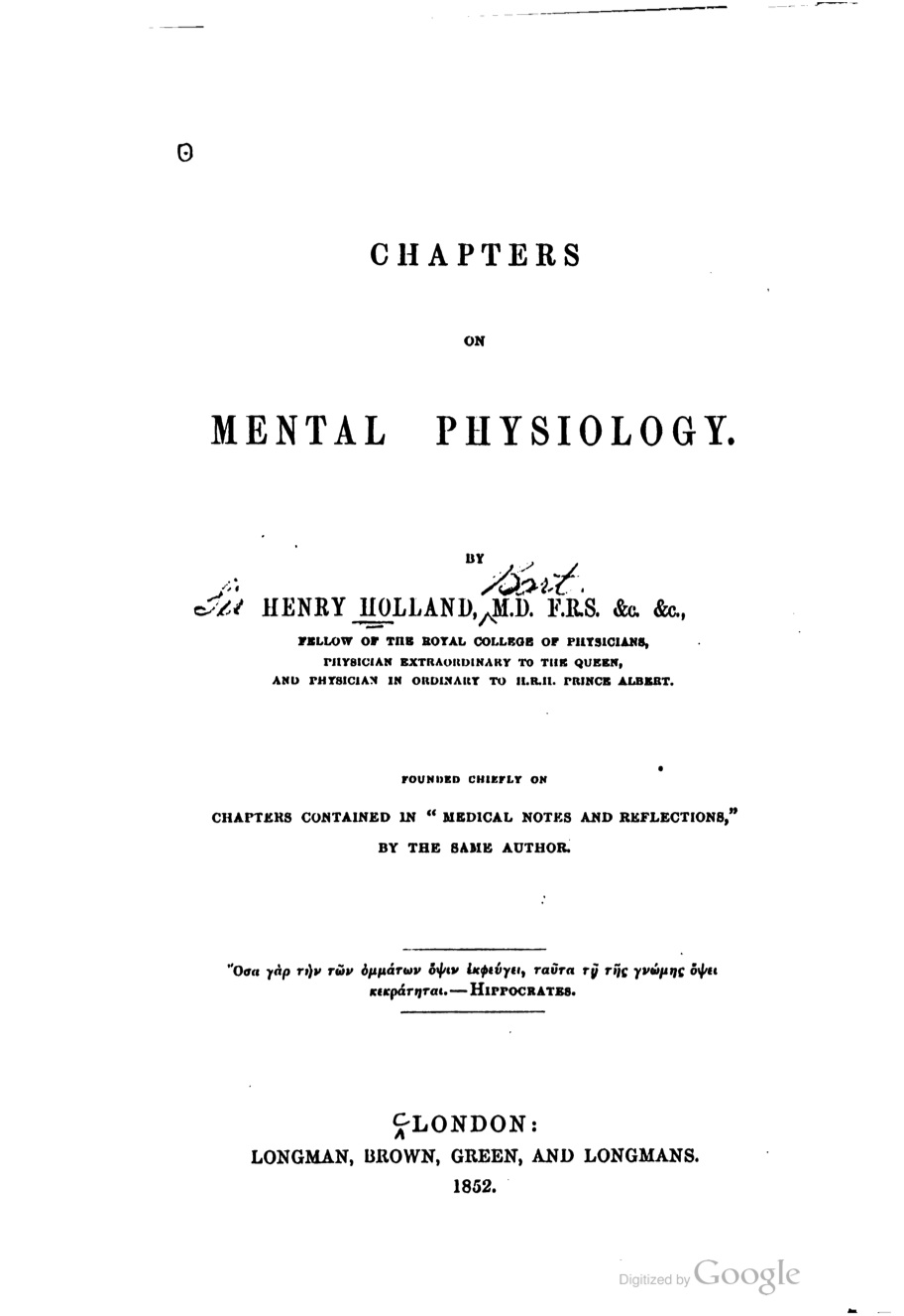 Chapters on Mental Physiology