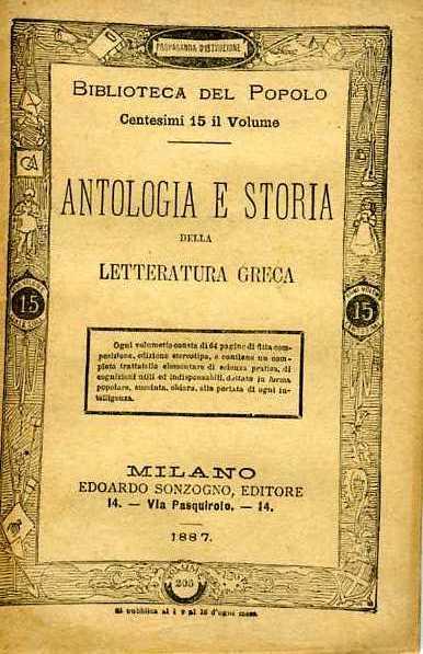 Antologia e storia della letteratura greca