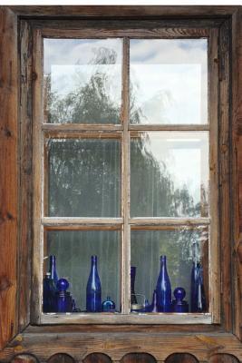 Blue Bottles on a Wooden Windowsill Journal
