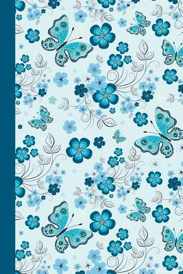 Floral With Butterflies Blue Journal