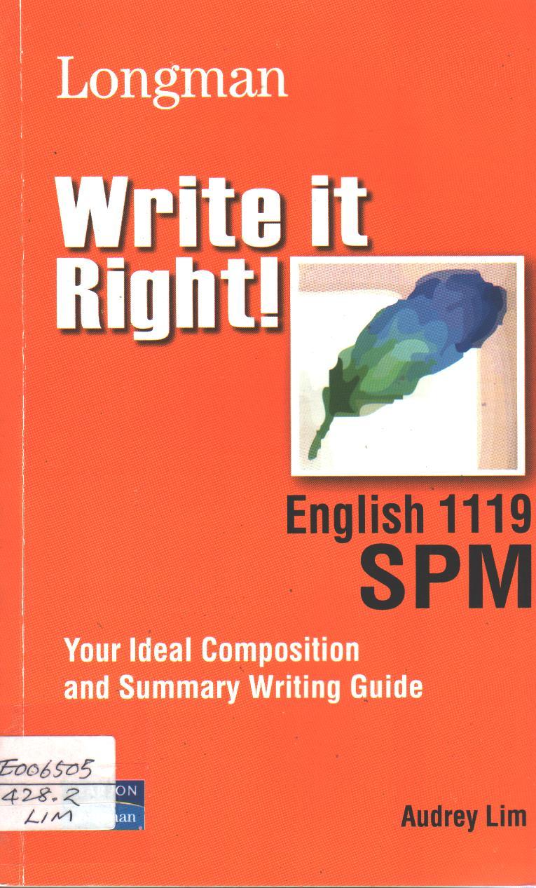 Write It Right! English 1119 SPM