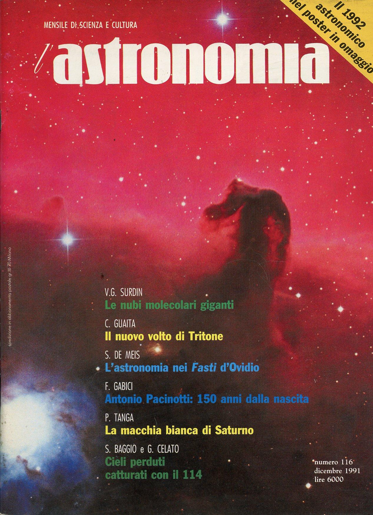 L'Astronomia, Anno XIII, n.116