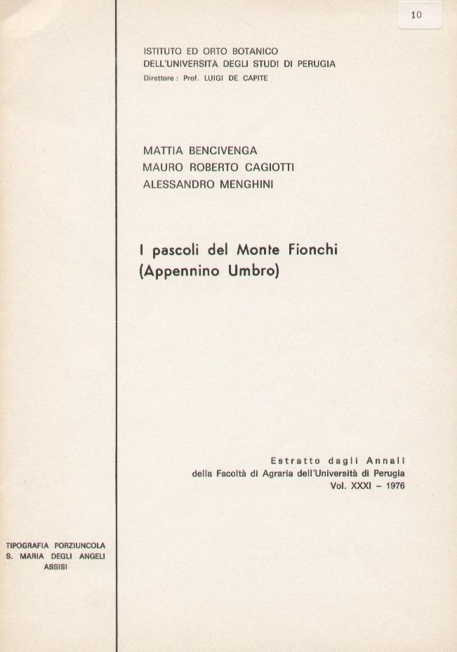 Annali della Facoltà di Agraria dell'Università di Perugia - vol. XXXI
