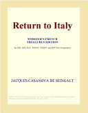 Return to Italy (Webster's French Thesaurus Edition)
