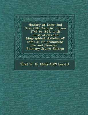 History of Leeds and Grenville Ontario,
