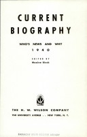 Current Biography Yearbook 1940