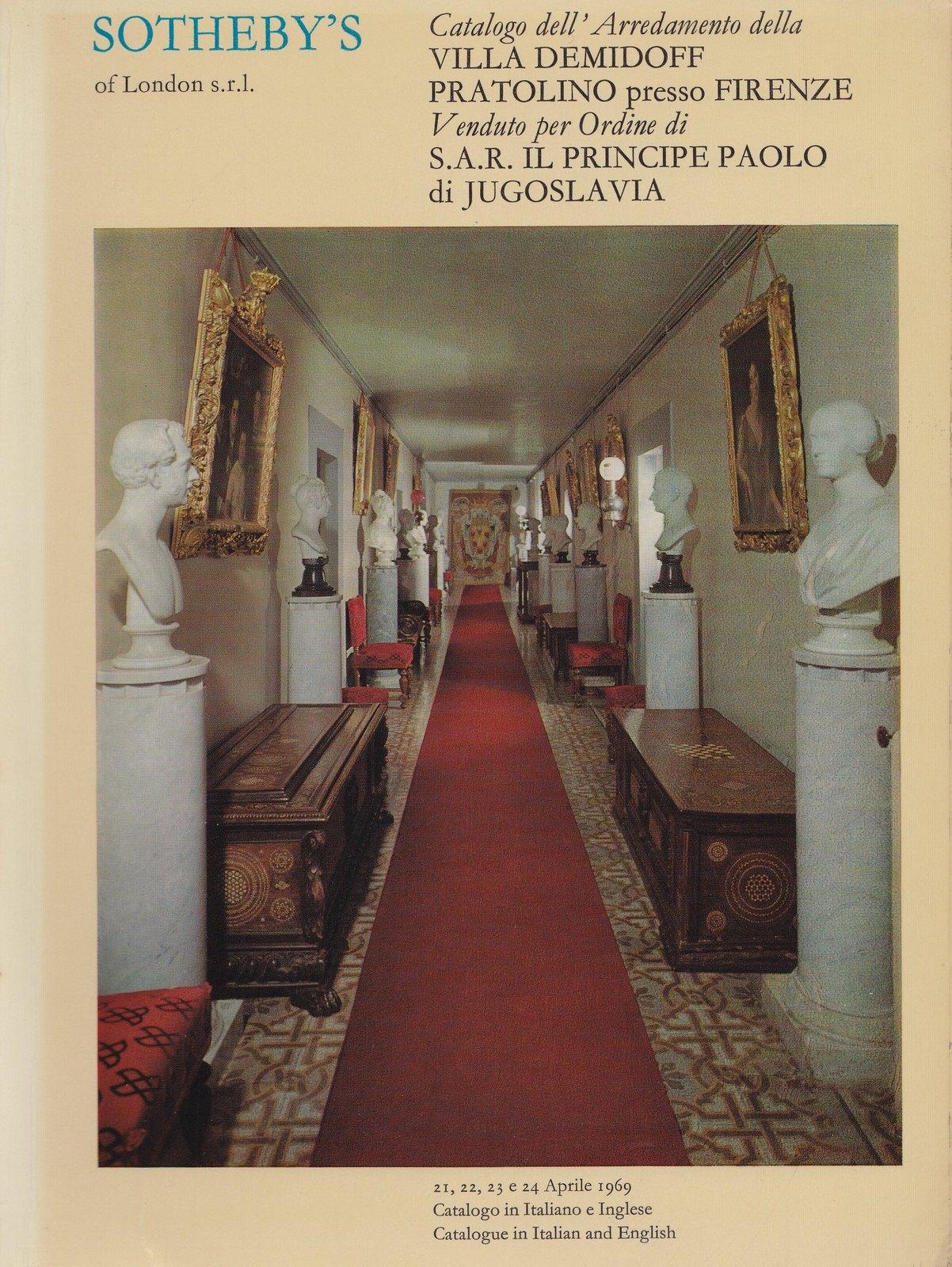 Catalogo dell'Arredamento della Villa Demidoff Pratolino presso Firenze venduto per ordine di S.A.R. il Principe Paolo di Jugoslavia