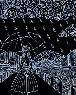 Journal Notebook Watercolor Girl In The Rain 9