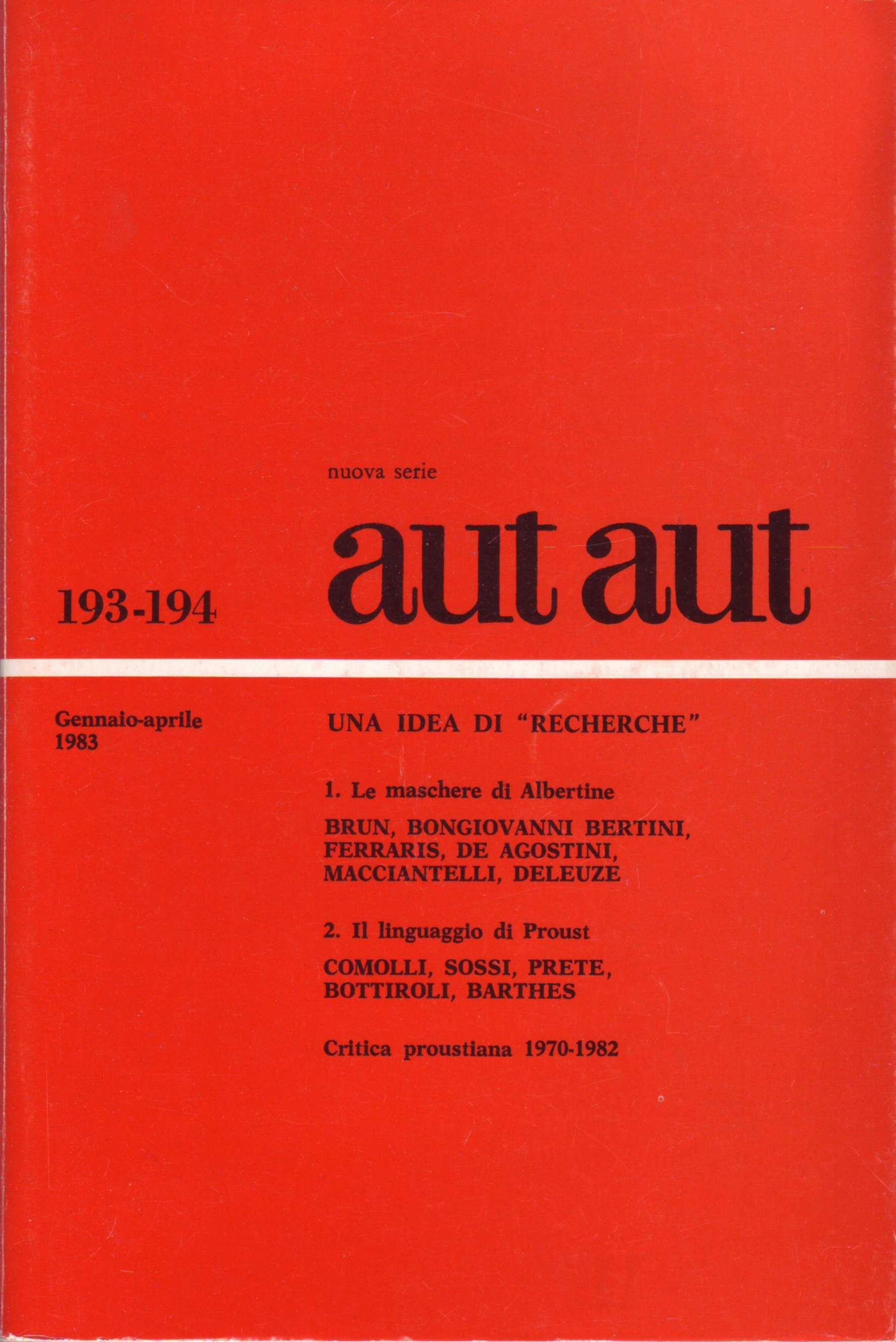 Aut aut n. 193-194 /...