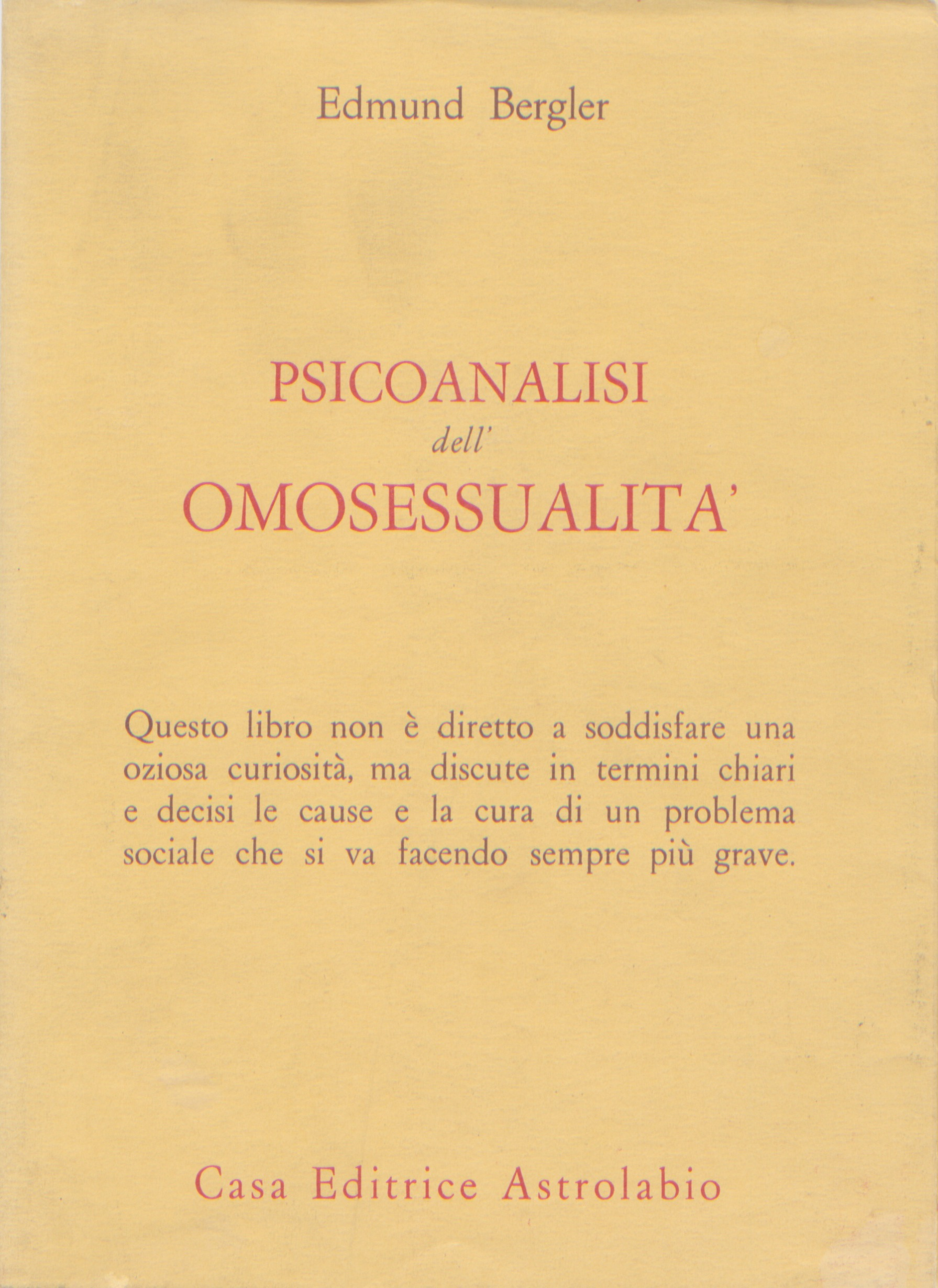 Psicoanalisi dell'omosessualita'