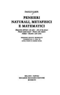 Pensieri naturali, metafisici e matematici