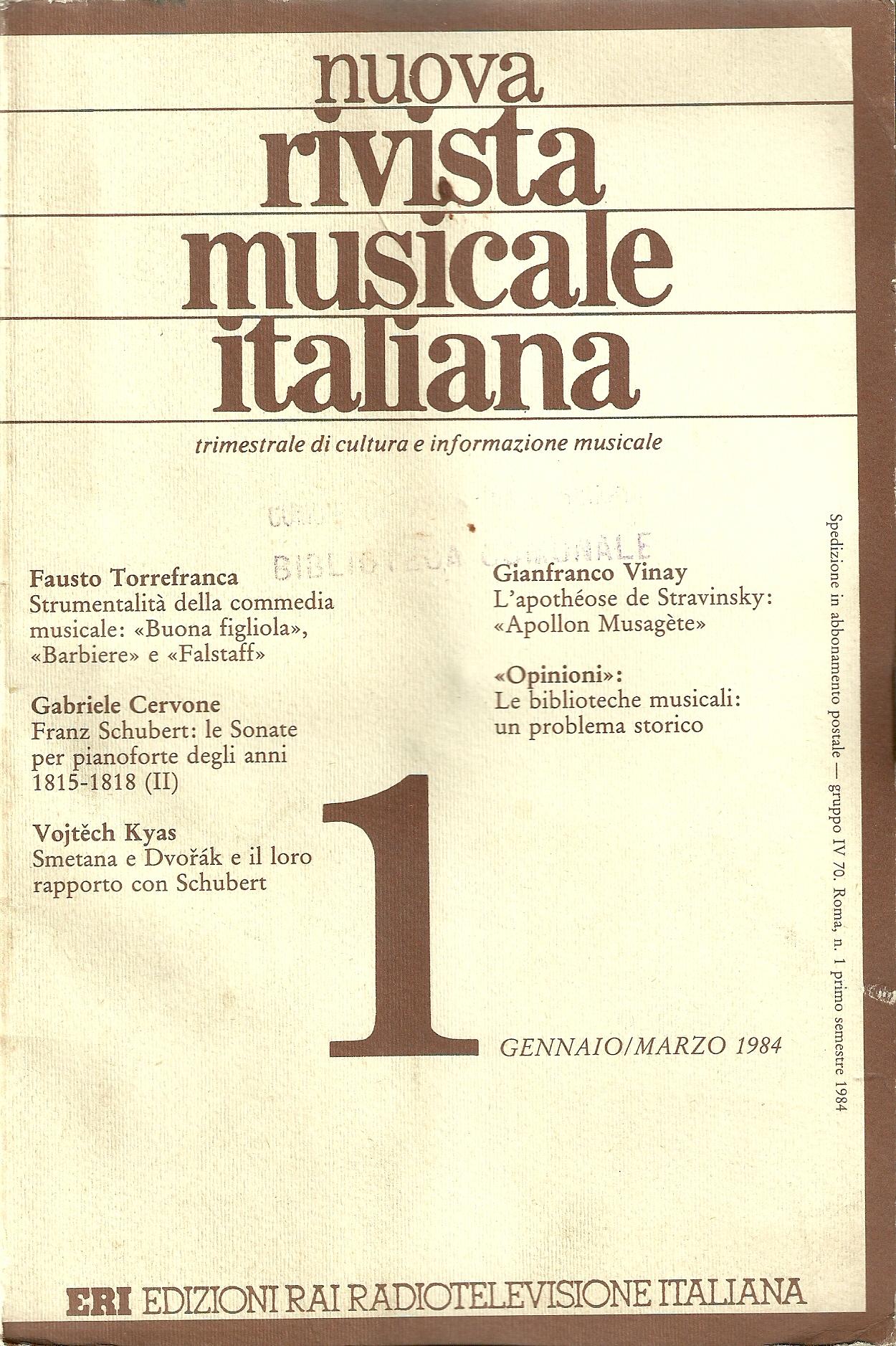 Nuova rivista musicale italiana (n.1/1984)
