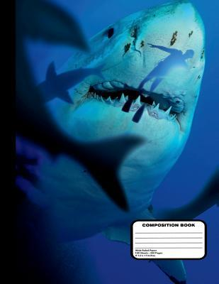 """Killer Sharks With Diver Composition Notebook Wide Ruled 200 pages / 100 sheets, 8-1/2"""" x 11"""""""