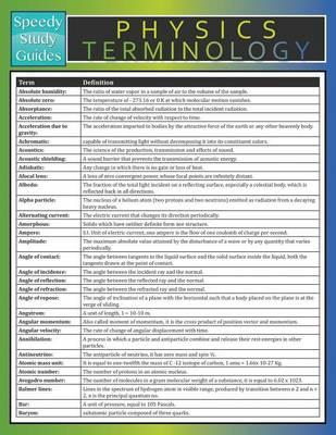 Physics Terminology (Speedy Study Guide)