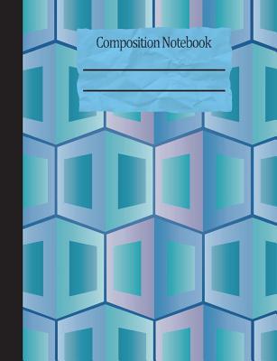 Geometric Blue Composition Notebook - 5x5 Graph Paper