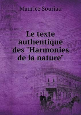 """Le Texte Authentique Des """"Harmonies de La Nature"""""""