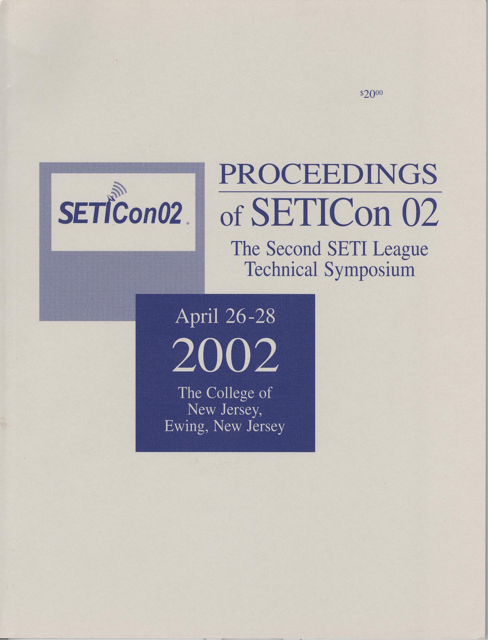 Proceedings of SETICon 02 - The Second SETI League Technical Symposium 2002