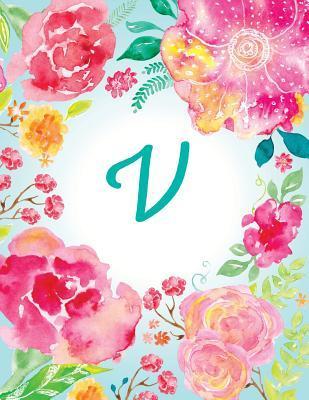 V Initial Journal, Monogram Notebook, Pink Teal Watercolor